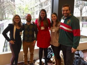Kris Palmieri, Justin Niermeier-Dohoney, Emily Webster, Jillian Foley, and Steve Server at the History of Science Society Annual Meeting in 2017 (Toronto).