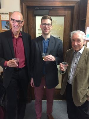 Ryan W. Dahn, with Andreas Glaeser and Robert J. Richards, following his successful dissertation defense.