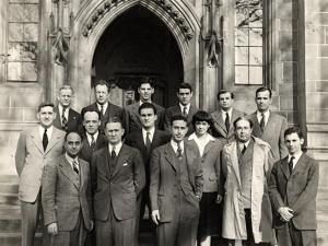 Reunion of the Atomic Scientists, a group founded in 1945 to address the social responsibilities of scientists regarding the use of nuclear energy, taken in front of Eckhart Hall.
