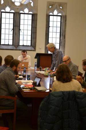Professor Robert J. Richards introducing Alex Moffett at the History of Human Sciences Workshop.