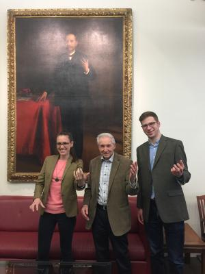 Ashley Clark, Prof. Robert J. Richards, and Ryan Dahn at an HPS workshop in the John Hope Franklin R
